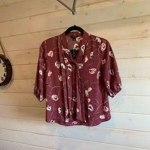 RW&CO. Floral Blouse with Front Tie